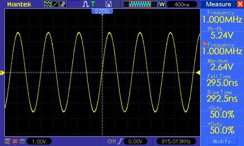 Częstotliwość przebiegu 1MHz, amplituda 5V
