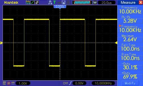 Przebieg prostokątny o częstotliwości 10kHz