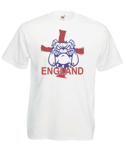 British Bulldog England St George Cross Football Rugby White T-Shirt