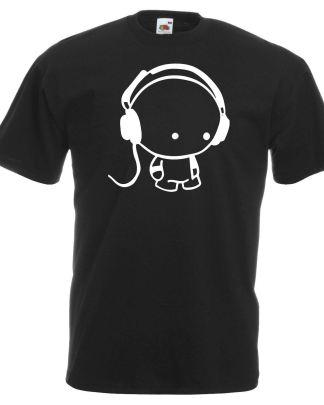 Mens Cute Little DJ Custom 100% Cotton Black T-Shirt With White Vinyl Shirt