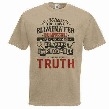 Adults Khaki Sherlock Holmes The Truth T-Shirt TV Series Science Of Deduction