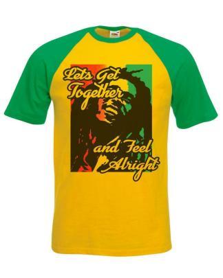 Rasta Reggae Legend Lyrics Lets Get Together & Feel Alright T-Shirt