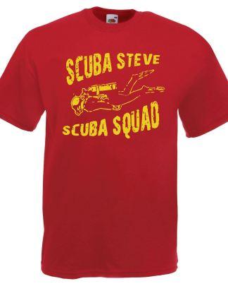 Mens Red 'Scuba Steve Scuba Squad' T-Shirt Padi Diving Diver TShirt