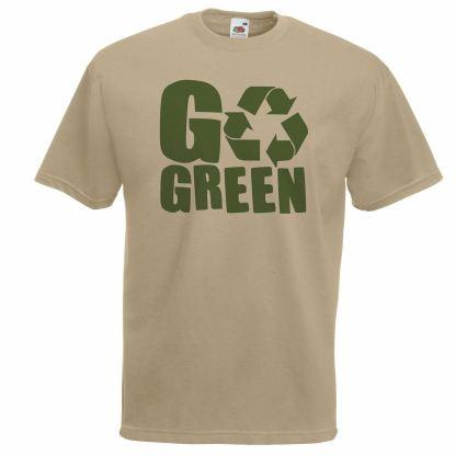 Recycle Go Green Conscious Living Khaki T-Shirt