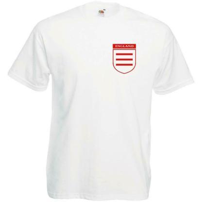 Mens White England Three Lines On A Shirt Euro Football Supporters Tshirt