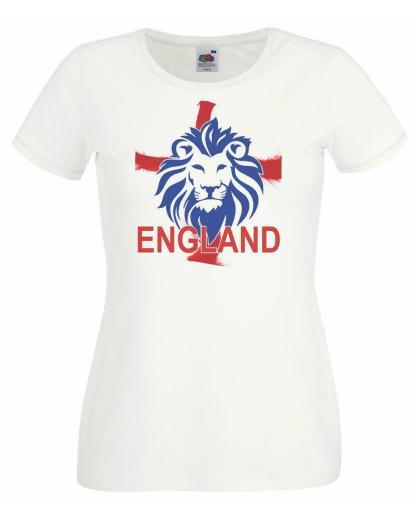 Womens English Lion England St George Cross Rugby Football Supporters T-Shirt