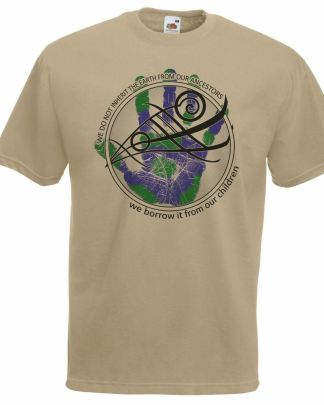 The Desolate North Adults Khaki Earth Warrior Palm Anti-Fracking Protest T-Shirt
