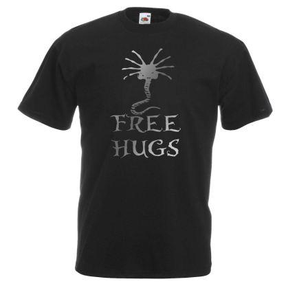 Free Hugs Black T-Shirt Alien Face Hugger Metallic Silver Print