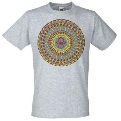Hamsa Hand Mandala Spiritual T-Shirt Psychedelic Psy-Trance Grey