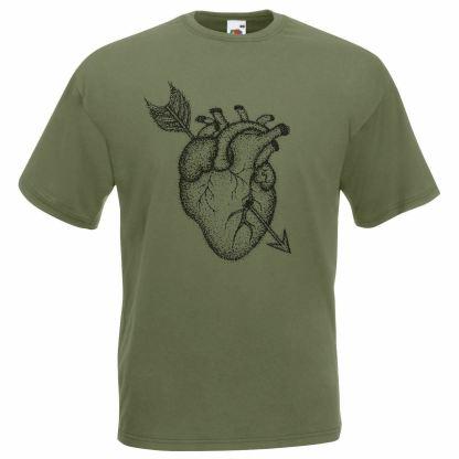 Heart Dot Art Work Tattoo T-Shirt Arrow T-shirt Olive Green