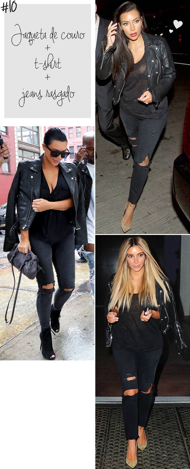 kim kardashian ripped jeans rasgado t-shirt preto e jaqueta couro blog got sin