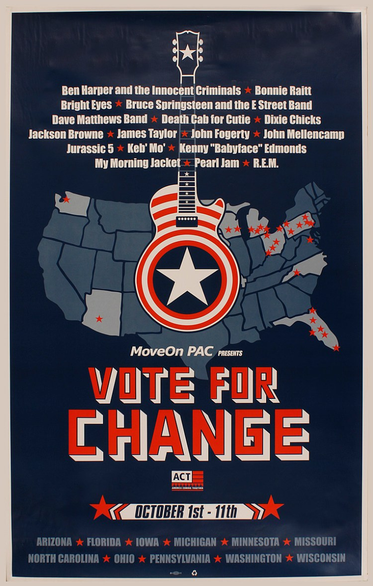 "Lot Detail - ""Vote for Change"" Original Concert Poster Featuring Bruce  Springsteen, R.E.M. and More!"