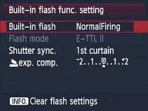 Built-in flash settings