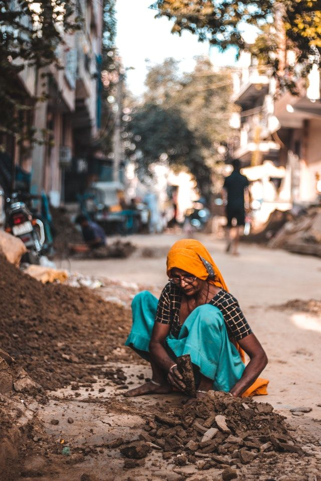 working woman street photo