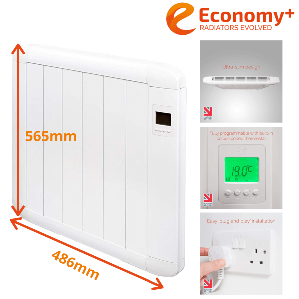 Economy Plus Wall Mounted Electric Radiator with Timer and Thermostat 565x486mm