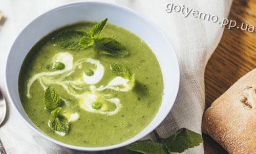 рецепт супу-пюре з зеленого горошку з м'ятою
