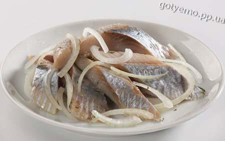 рецепт маринованого оселедця з цибулею