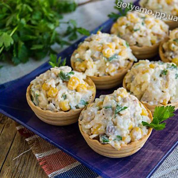 Салат з оселедця в тарталетках