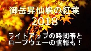 御岳昇仙峡の紅葉2018ライトアップとロープウェーの情報