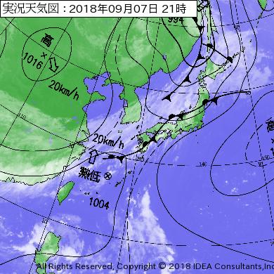 台風22号2018最新の天気図情報