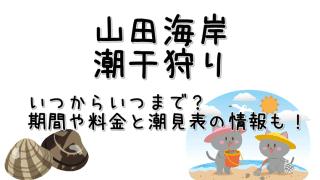 山田海岸の潮干狩り期間と料金・潮見表についてご紹介しています