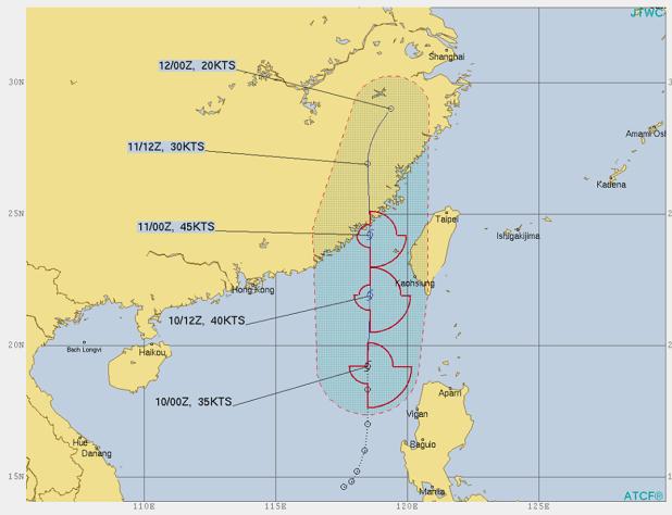 台風6号米軍の進路予想