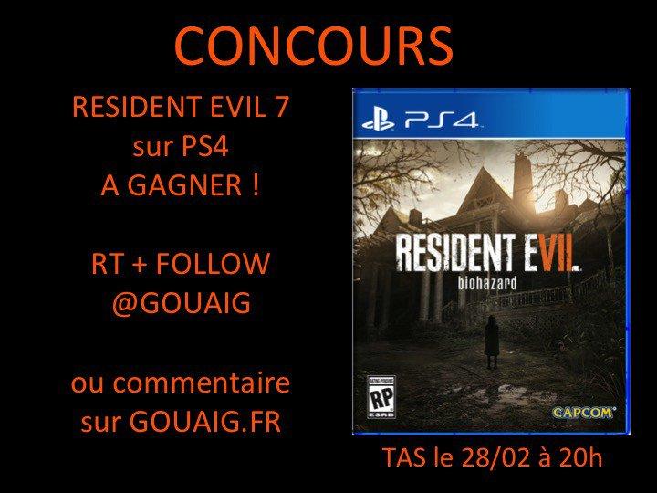 Resident Evil 7 résultat concours