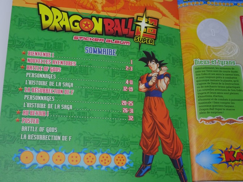 Dragon Ball Super album et stickers Panini