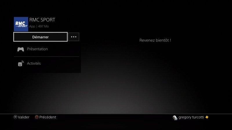 RMC sport PS4 installation
