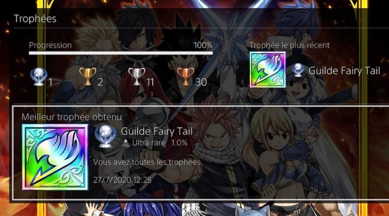 trophées platine Fairy Tail PS4