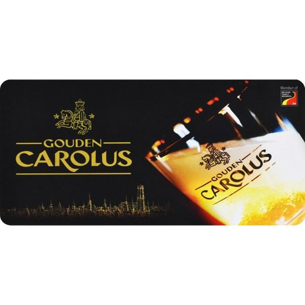 Tapis de bar Gouden Carolus avec logo, verre et l'horizon de Malines