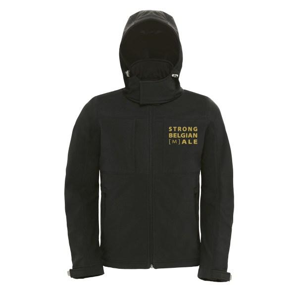 Zwarte softshell jas Gouden Carolus met gouden opschrift Strong Belgian Male voorkant