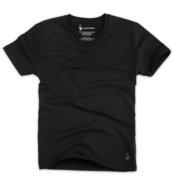 T-shirt noir col V pour homme
