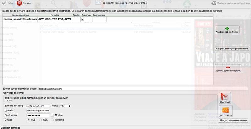 tutorial calibre: configurar e-mail para enviar ebook