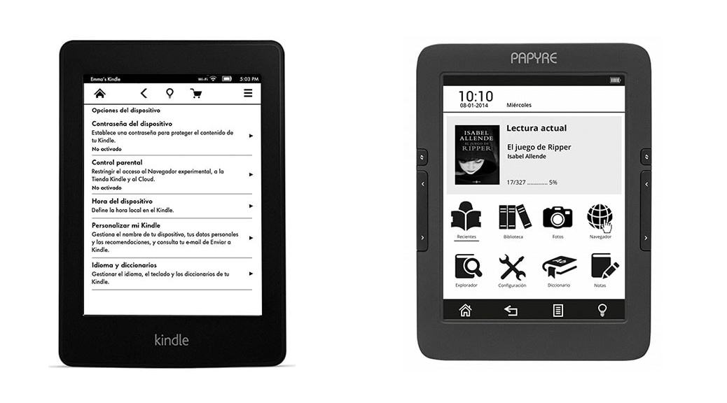 Kindle Paperwhite vs Papyre 630: Comparativa eReaders