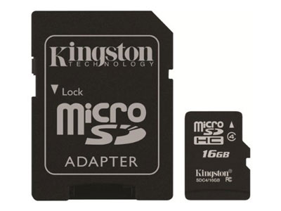 Kingston - Tarjeta de memoria microSDHC 16 GB con adaptador a SD