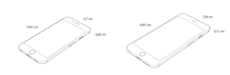 iPhone 6 vs iPhone 6 Plus dimensiones