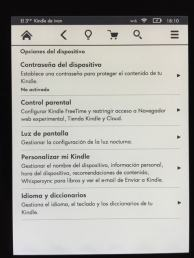 Kindle Voyage menu configuracion