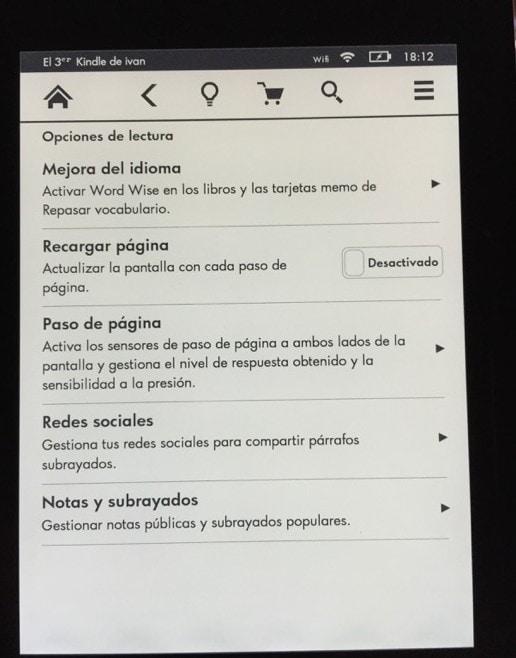 Kindle Voyage menu configuracion