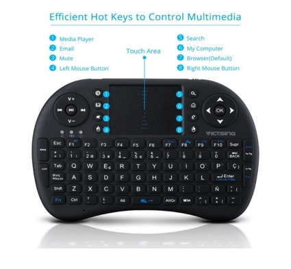Mini Teclado Inalámbrico portátil de VicTsing Multifunción 2.4GHz RF con Touchpad