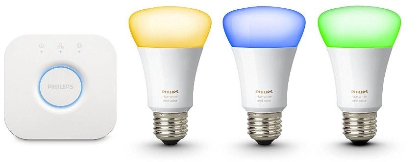 Las mejores bombillas inteligentes inalámbricas LED: Philips Hue - Kit básico de 3 bombillas inteligentes, E27, elige entre 16 millones de colores