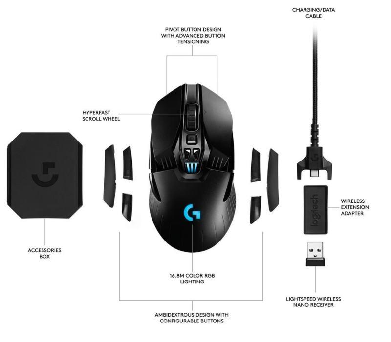 Logitech G903 - Ratón inalámbrico para gaming con sistema de carga inalámbrica POWERPLAY compatible con LIGHTSPEED