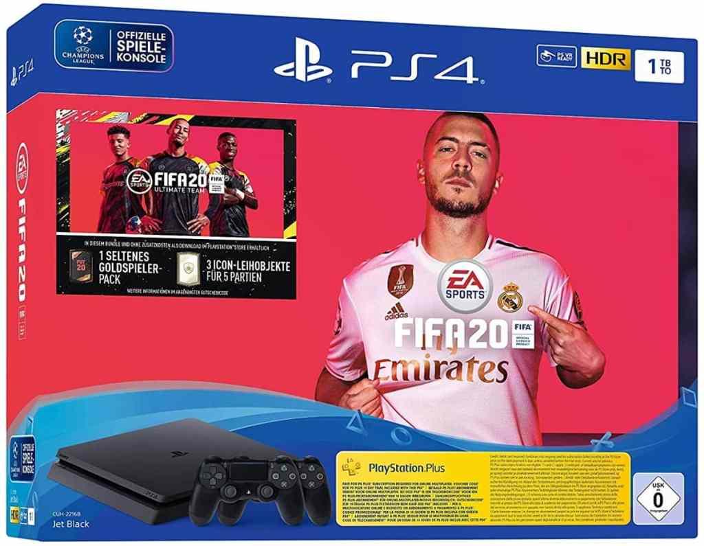 PlayStation 4 Slim - Konsole (1TB, schwarz) inkl. FIFA 20 + DualShock Controller