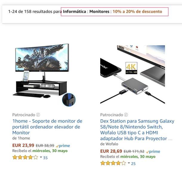monitores descuentos amazon