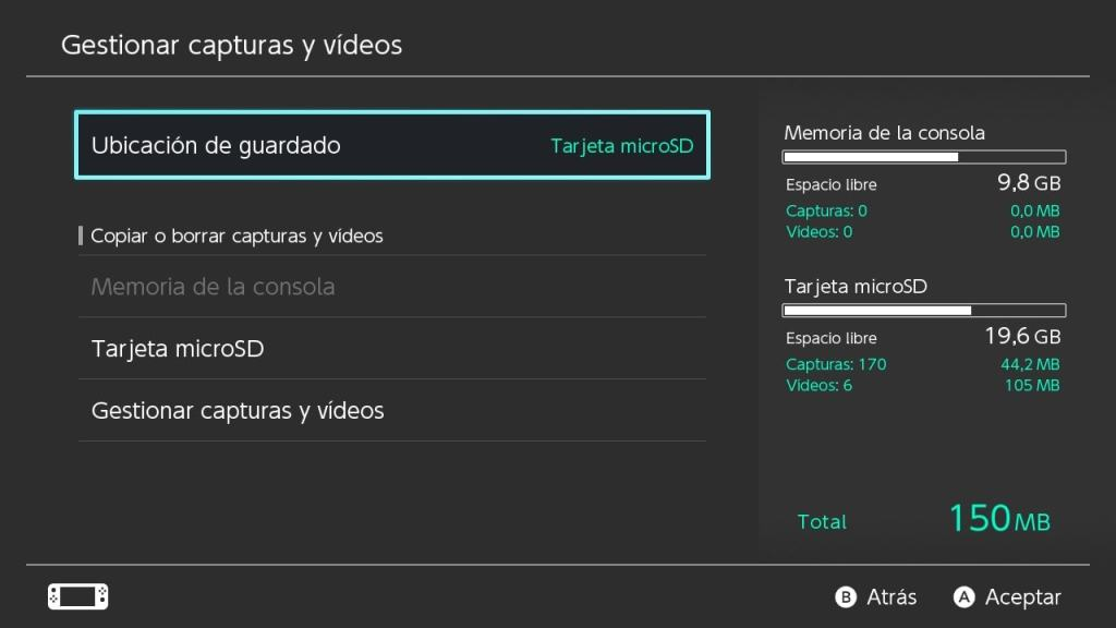 gestion datos nintendo switch guardar juegos microSD