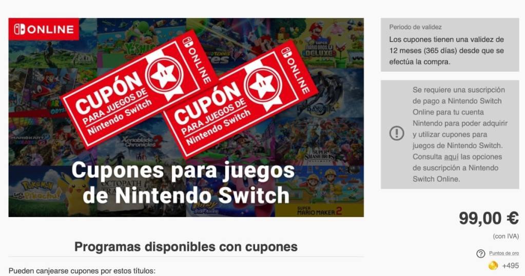 Cupones para juegos de Nintendo Switch