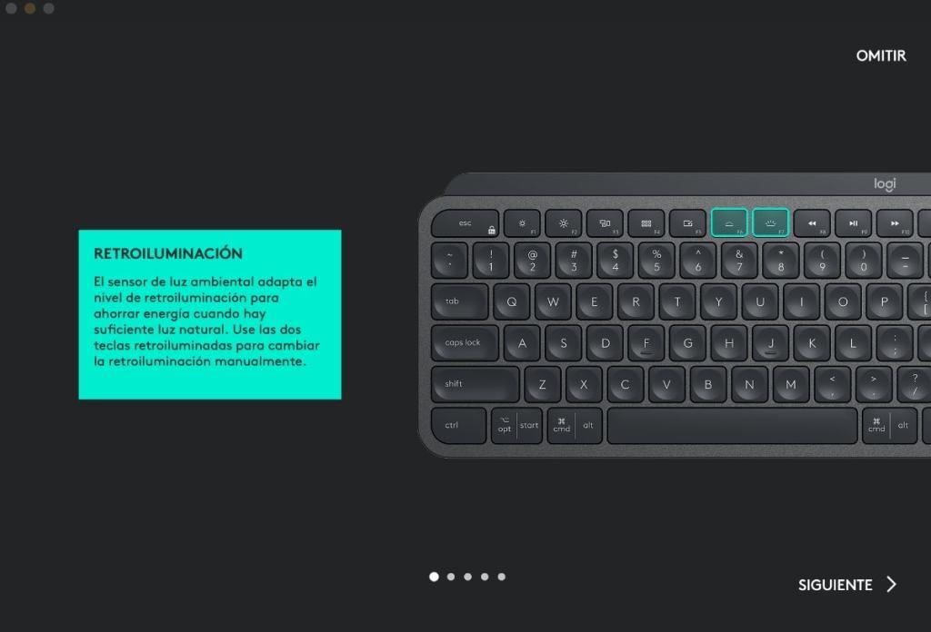 logitech options teclado mx keys illuminacion