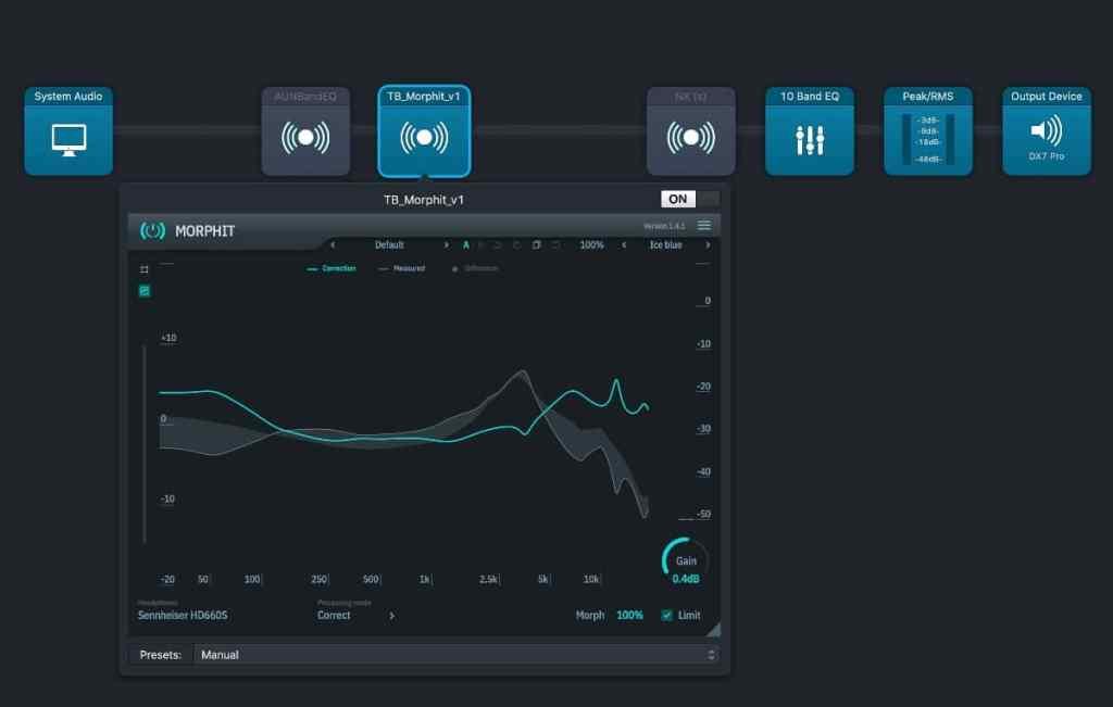 curva que te proporciona el plugin de audio Morphit: sennheiser Hd 660 S