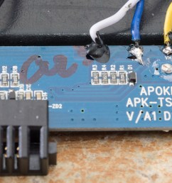 here s a better view of the top of the battery protection pcb it s pretty bare and the name apokin doesn t really point to a big known company at all  [ 3676 x 1702 Pixel ]