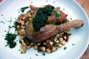 Chicken on bed of corn at La Cagette in Bordeaux